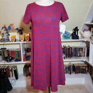 Lularoe Purple Red Starburst Carly Dress XXS NWT